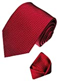 LORENZO CANA Luxury Pure Silk Tie Set Hanky Red White Polka Dot 84321