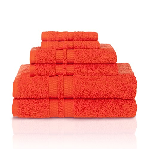 Solid Towel Set - Superior 100% Premium Cotton Ultra Soft 6 Piece Towel Set, 2 Bath Towels, 2 Hand Towels, and 2 Washcloths with Unique Honeycomb Double Border, Tangerine