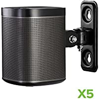 NavePoint Speaker Wall Mount Bracket Compatible with SONOS Play:1 Adjustable Black 5 Pack