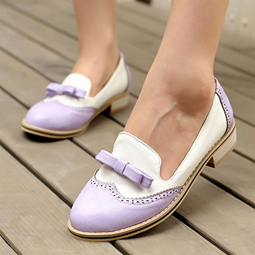 Aisun Womens Cute Comfy Round Toe Low Cut Dress Slip On Oxfords Low Heels Loafers Flats Pumps Shoes With Bows Purple KnB9xSv