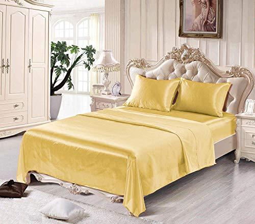 Fresh Linen Ultra Soft Silky Satin Bed Sheet Set with Pillowcase, Full, Gold