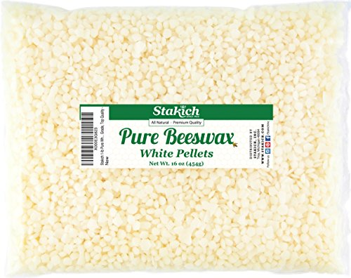 Stakich Pure White BEESWAX Pellets - 100% Natural, Cosmetic Grade, Premium Quality - (1 lb)