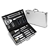 21 Piece BBQ Tools Set - Barbecue Accessories With Carrying Case - Professional Grade Stainless Steel Grill Utensils - Spatulas, Tongs, Forks Skewers, Knives, Brushes and More - by Vysta