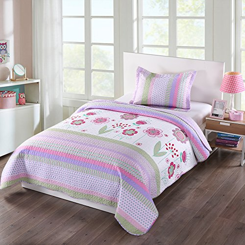 s Bedspread Quilts Set Throw Blanket for Teens Girls Bed Printed Bedding Coverlet, Twin Size, Purple Floral Striped (Twin) ()