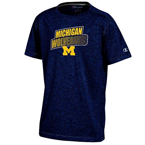 (Champion NCAA Michigan Wolverines Youth Boys Short Sleeve Crew Neck Tee, Small, Navy Heather)