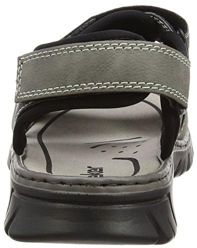 26757 Men Homme Cement Rieker Bout Stein Gris Sandales Sandals Ouvert Schwarz fF6qUdw