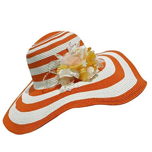 QIQI-HUWAI Big Brim Women's Straw Hat Visor Hat Sun Hat Foldable Fashion Stripes Random Match Seaside Holiday Summer (Color : Orange)