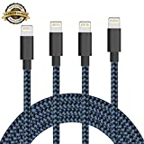 iPhone Cable SGIN,4Pack 3FT 6FT 6FT 10FT Nylon Braided Cord Lightning to USB iPhone Charging Charger for iPhone 7,7 Plus,6S,6 Plus,SE,5S,5,iPad,iPod Nano 7(Black Blue)