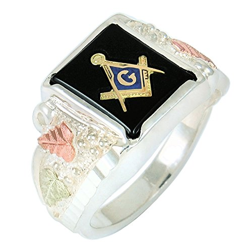 Mens Black Hills Gold Masonic Ring in Sterling Silver with 14 X 12 Natural Onyx