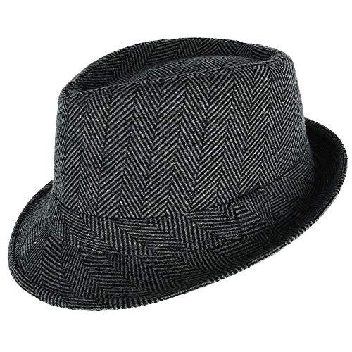 WESTEND Men's Herringbone Trilby Fedora Hat, Small/Medium, Black - Fedora Herringbone