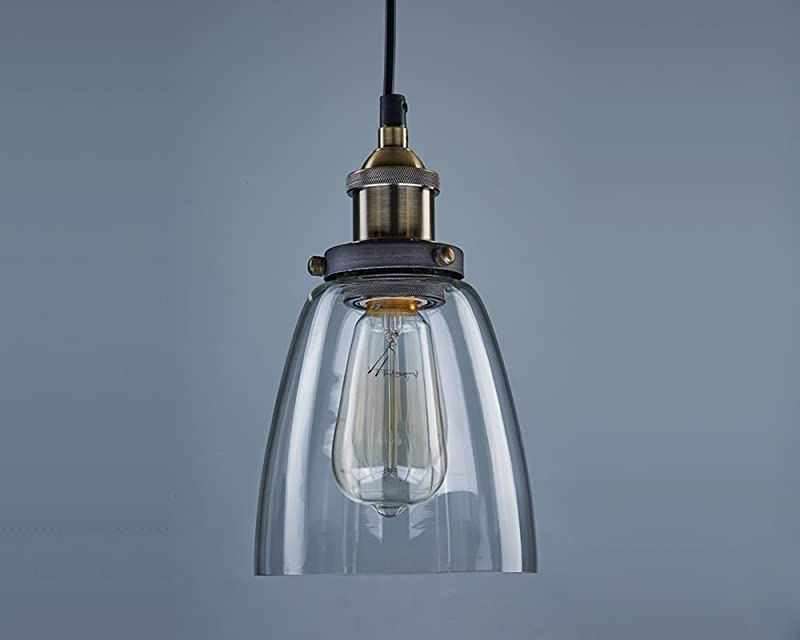Sleek industrial bell-shaped glass pendent lamp by CLAXY Ecopower