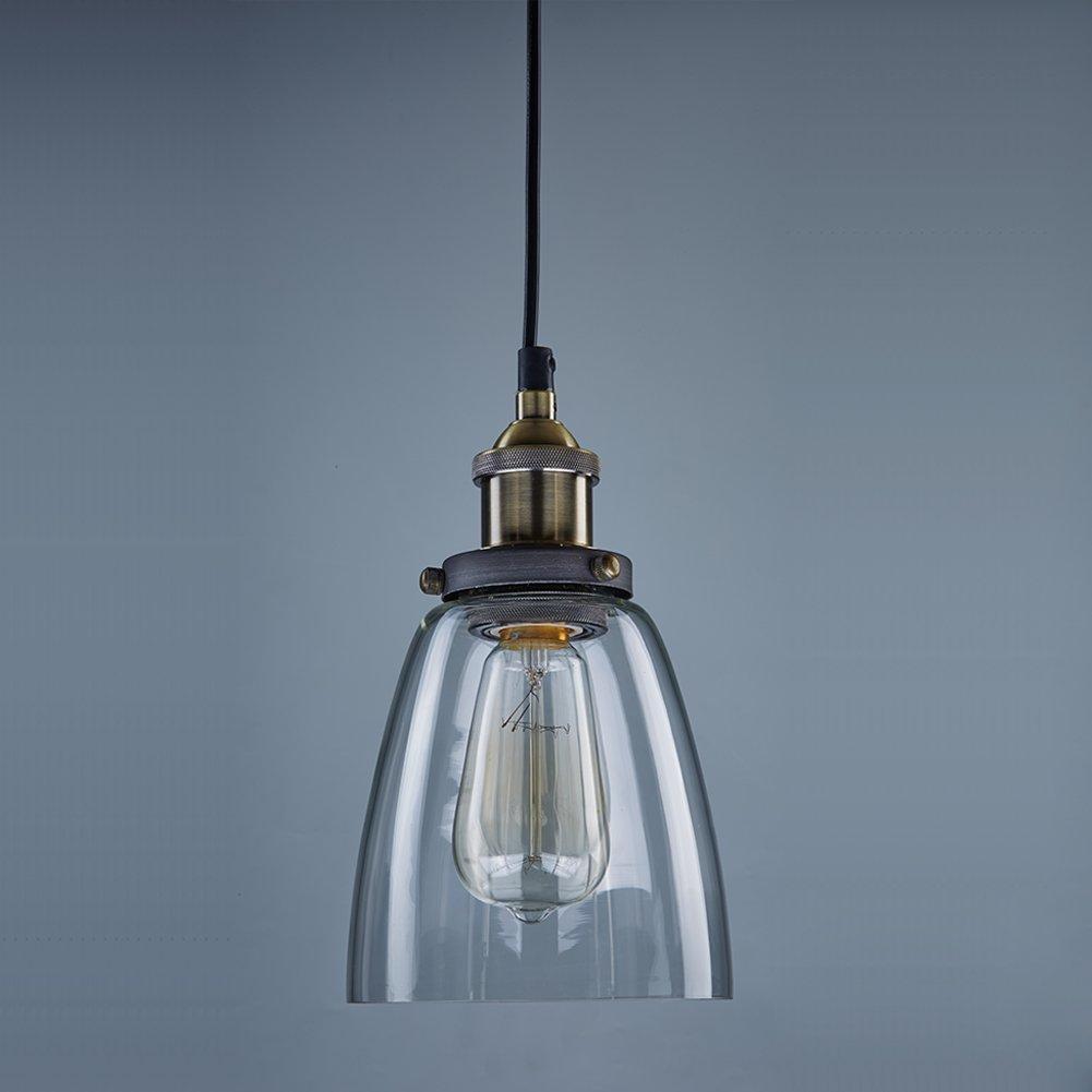 CLAXY Ecopower Industrial Edison Mini Glass 1-Light Pendant ...