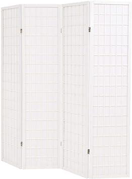 Nishore Biombos Plegable con 4 Paneles Estilo Japonés Biombo Divisor Separador de Habitaciones Espacios Divisoria 160 x 170cm (Blanco): Amazon.es: Hogar
