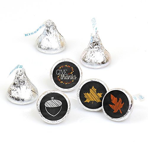 Give Thanks - Round Candy Thanksgiving Party Sticker Favors - Labels Fit Hershey's Kisses (1 Sheet of 108)