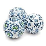 ORIENTAL FURNITURE 4'' Blue & White Decorative Porcelain Ball Set