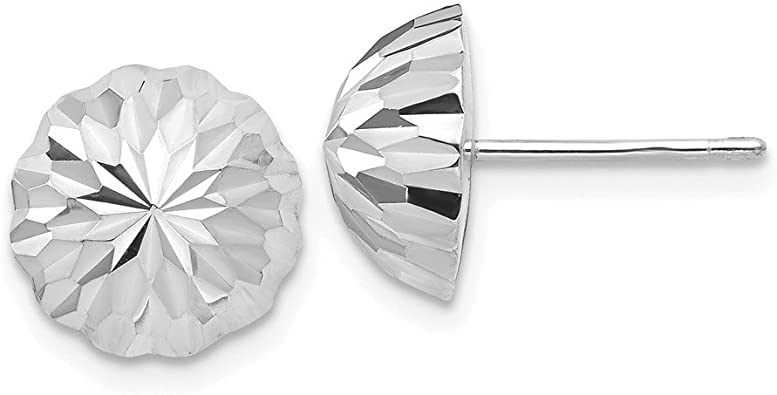14k White Gold 9mm Ball Post Stud Earrings Button Fine Jewelry Gifts For Women For Her