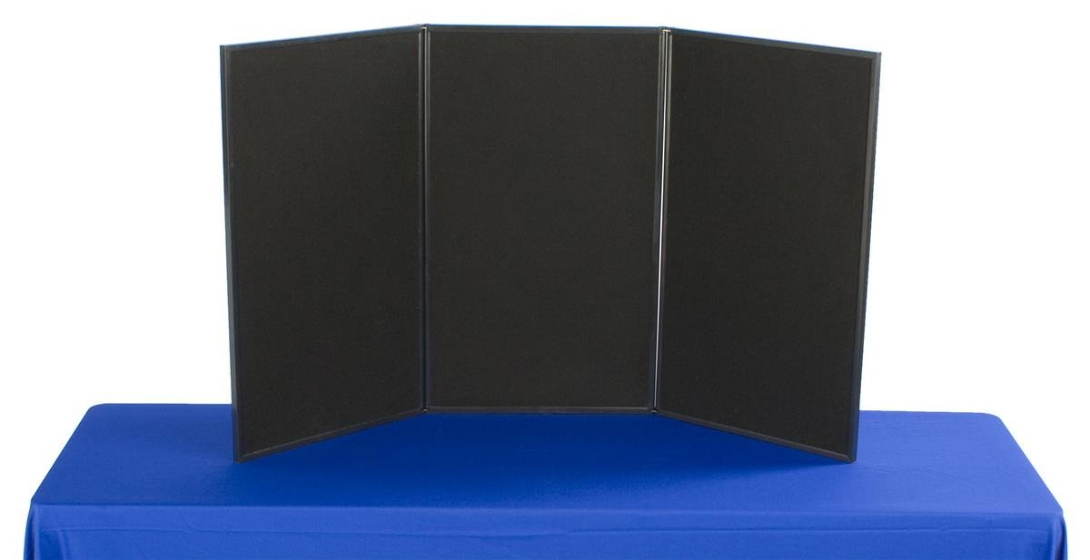 Displays2go 3-Panel Tabletop Display Board, 54 x 30-Inches - Black and Gray Velcro-Receptive Fabric (3P5430BKGR)