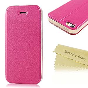 Mavis's Diary Colorful Design Silk Pattern Leather with Sucker Folio Case Cover for iPhone 5&5s with Soft Clean Cloth (Hot Pink)