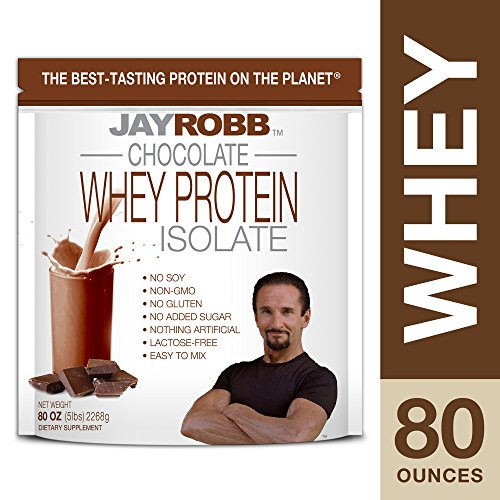 Jay Robb - Grass-Fed Whey Protein Isolate Powder, Outrageously Delicious, Chocolate, 76 Servings (80 oz)