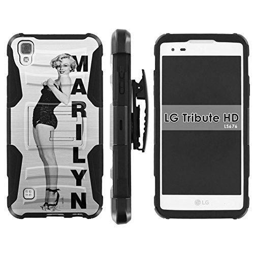 LG [Tribute HD] [X Style] Armor Case [Mobiflare] [Black/Black] Armor Phone Case [Screen Protector INCLUDED] - [Marilyn Swim - Swimsuit Hd
