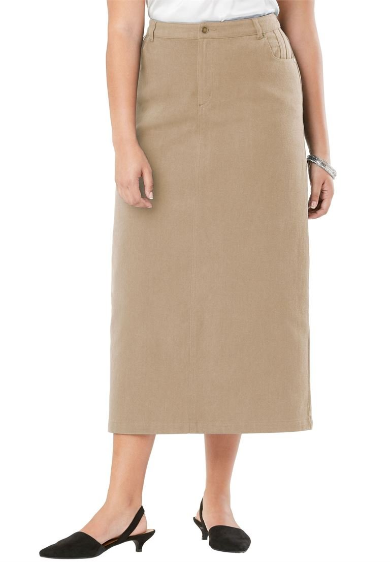 Jessica London Women's Plus Size Classic Cotton Denim Long Skirt New Khaki,16
