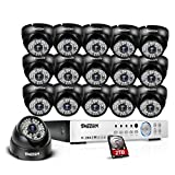 TMEZON 16-Channel HD DVR Security System with 16 2MP IR Outdoor Weatherproof Dome Cameras 2TB Hard Drive and Remote Surveillance For Sale