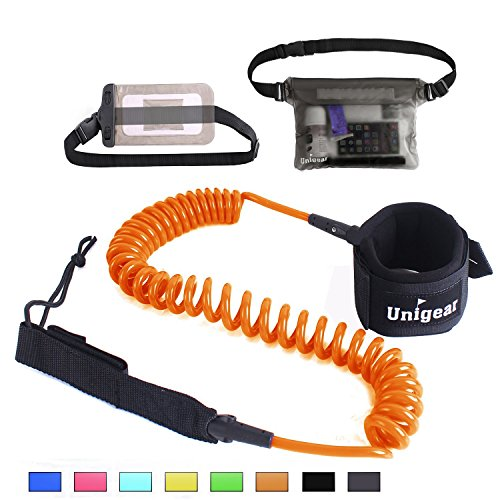 Unigear Premium 10 Coiled SUP Leash (11 Colors) Inflatable Paddle Board Surfboard Leash with Waterproof Wallet