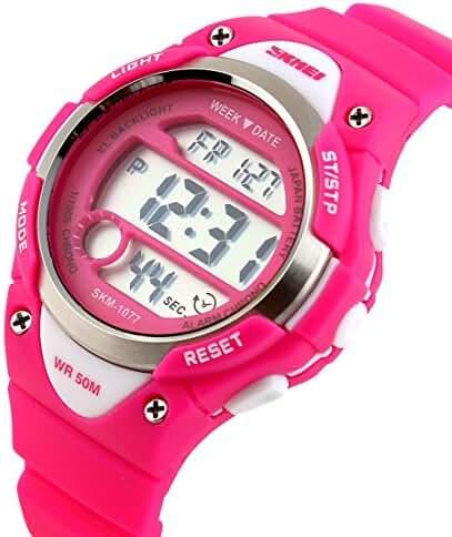 Takyae 2017 Children Watch Outdoor Sports Kids Boy Girls LED Digital Alarm Waterproof Wristwatches Children's Dress Watches Pink