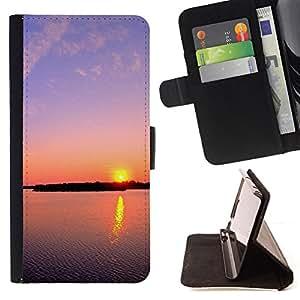 For HTC Desire 820 - Sunset Beautiful Nature 112 /Funda de piel cubierta de la carpeta Foilo con cierre magn???¡¯????tico/ - Super Marley Shop -