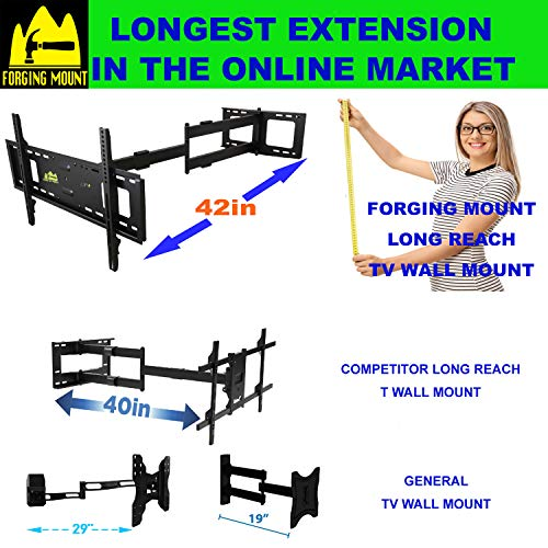 FORGING MOUNT Long Arm TV Mount Full Motion TV Bracket with 42 inch Long Extension Articulating TV Wall Mount for 37 to 80 Inch Flat/Curve TVs, VESA 600x400mm Compatible, Holds up to 100 lbs