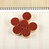 Potelin Wooden Rubber Stamp Round Shape Handwriting Wishes Benediction
