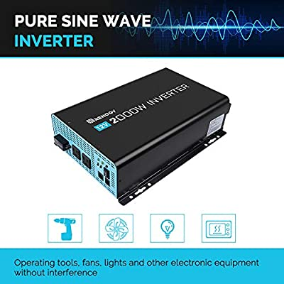 Renogy 2000W Power Inverter 12VDC to 120VAC Pure Sine Wave with Special LED Indicators : Garden & Outdoor