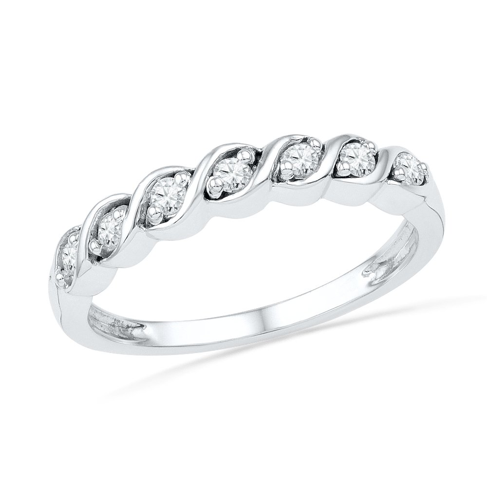 Sterling Silver Round Diamond Twisted Seven Stone Fashion Ring (1/6 cttw)