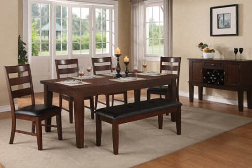 6 pc antique walnut finish wood dining table set with leaf and bench - Walnut Finish Wood Dining Table