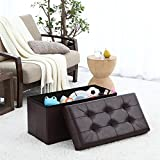 """Ellington Home Foldable Tufted Faux Leather Large Storage Ottoman Bench Foot Rest Stool/Seat - 15"""" x 30"""" x 15"""" (Espresso)"""