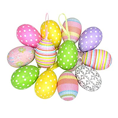 12pcs New Colorful Paper Mache Egg Hanging Ornaments Easter Christmas Decoration