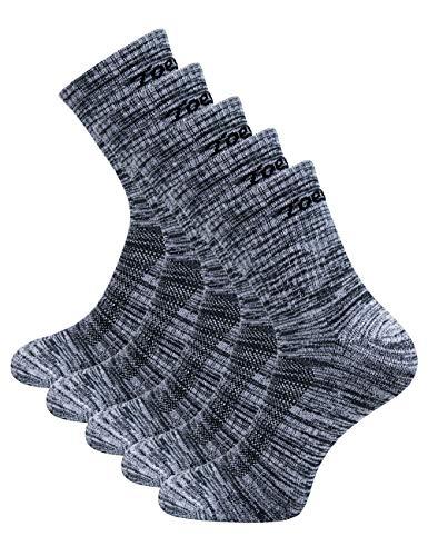 Toes&Feet Men's 5-Pack Grey Anti Odor No Blister Quarter Cushion Sports Socks