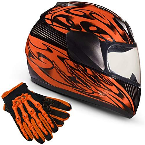 Youth Kids Full Face with Shield Helmet & Gloves Combo Motorcycle Street Dirtbike MX - Orange (Medium)