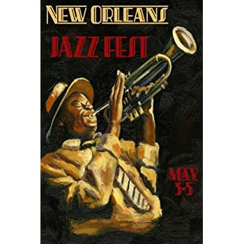 new orleans jazz festival music trumpet player 20 x 30 image size vintage poster