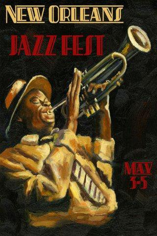 New Orleans Jazz Festival Music Trumpet Player Image Size Vintage Poster Reproduction, We Have
