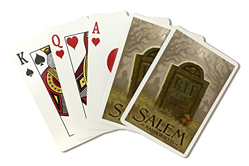 (Salem, Massachusetts - Headstone - Halloween Oil Painting (Playing Card Deck - 52 Card Poker Size with)