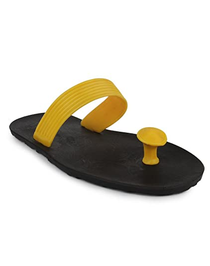 8331aae345084 11e Cool Casual V-Strap Yellow Slipper  Buy Online at Low Prices in India -  Amazon.in
