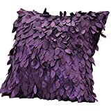 Chunshop Fallen Leaves Leaf Feather Throw Waist Pillow Cover Case Cushion Decorations 18''*18'' (Purple)