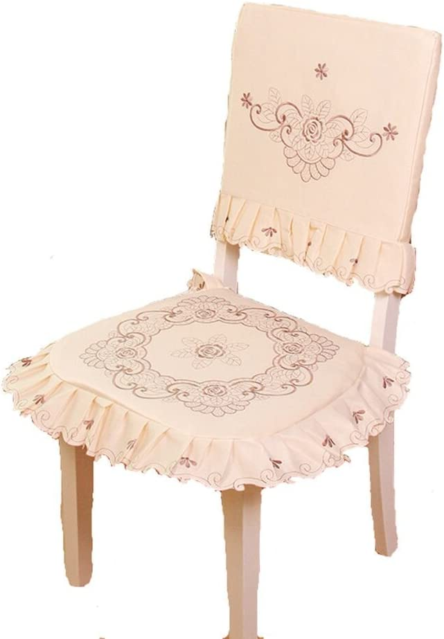 JH tablecloths Brown Flower Embroidered lace Cream Chair Back Cover and Cushion Cover