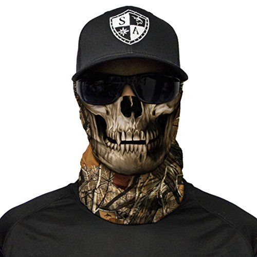 S A CO Official Forest Camo Skull Face Shield, Perfect for All Outdoor Activities, Protects Face Against the Elements