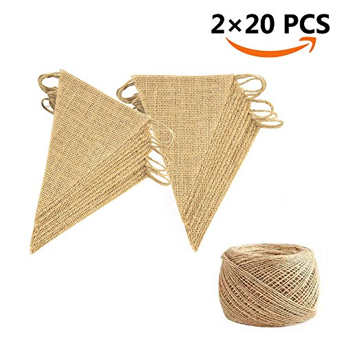 40 Pcs 26ft Burlap Flags JOFAMY Birthday Burlap Banner, with 100m/109 yd Jute rope for DIY Decoration Birthday, and Baby Shower