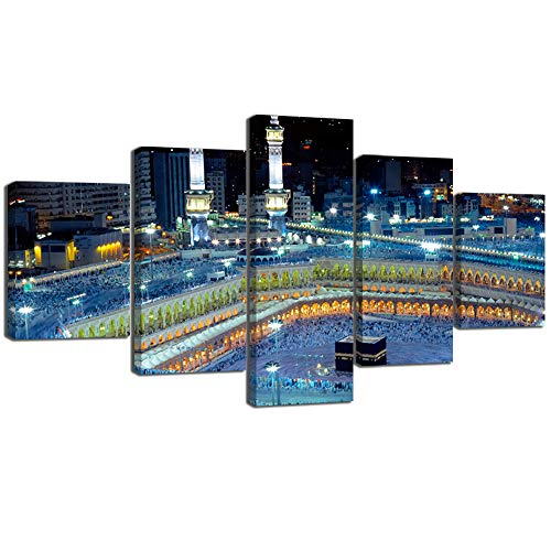 (Yatsen Bridge Mosque Painting On Canvas Art Wall Framed 5 Pieces Modern Islamic Muslim Poster Wall Picture Printed for Living Room Home Decoraive Strethed Gallery-Wrapped Ready to Hang 60''W x 32''H)