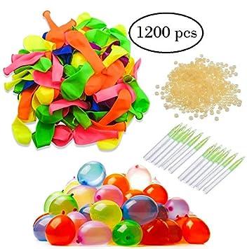 Globos de agua - 12 bolsas de 100 globos de agua, 6 colores ...