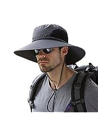 Men's Wide Brim Sun Hat, Mesh Bucket Hat Boonie Cap for Fishing Hunting