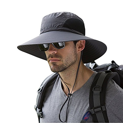 Men's Wide Brim Sun Hat, Outdoor Sunscreen Waterproof Bucket Mesh Boonie Hat for Travel Camping Hiking Fishing Hunting Boating Safari Cap with Adjustable Drawstring (Dark Gary)
